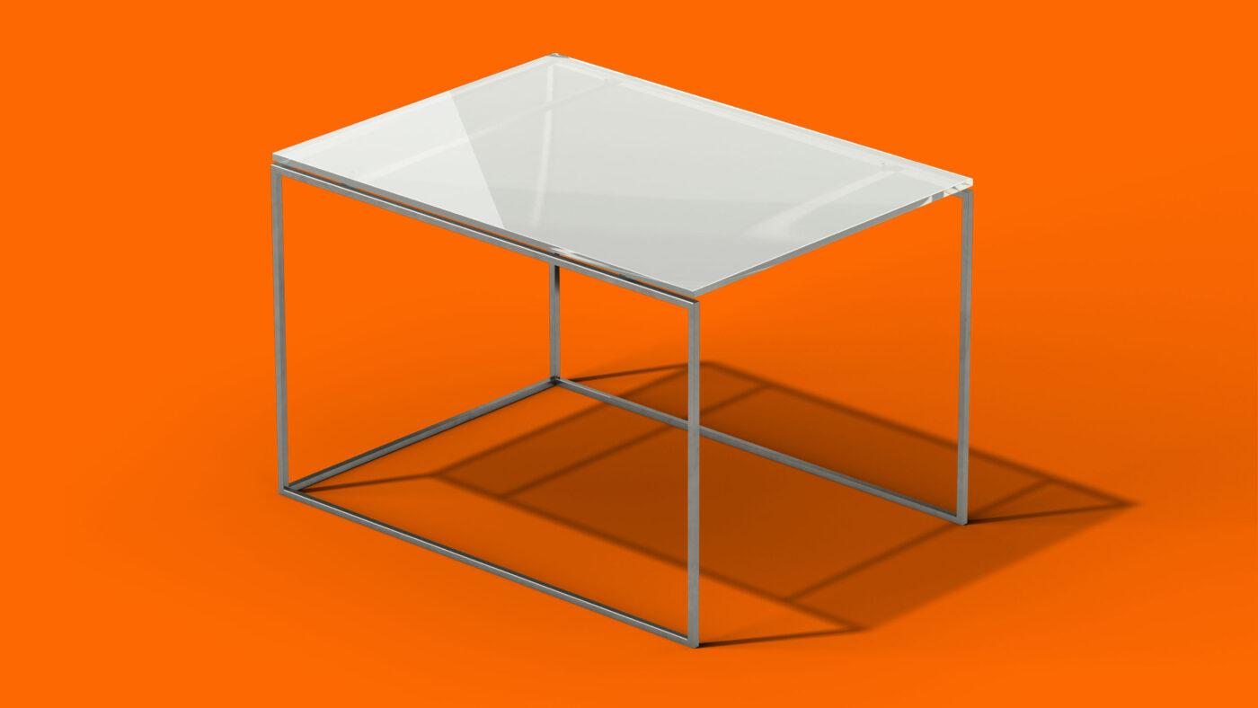 geänderter Tisch im dreidimensionalen raum orange