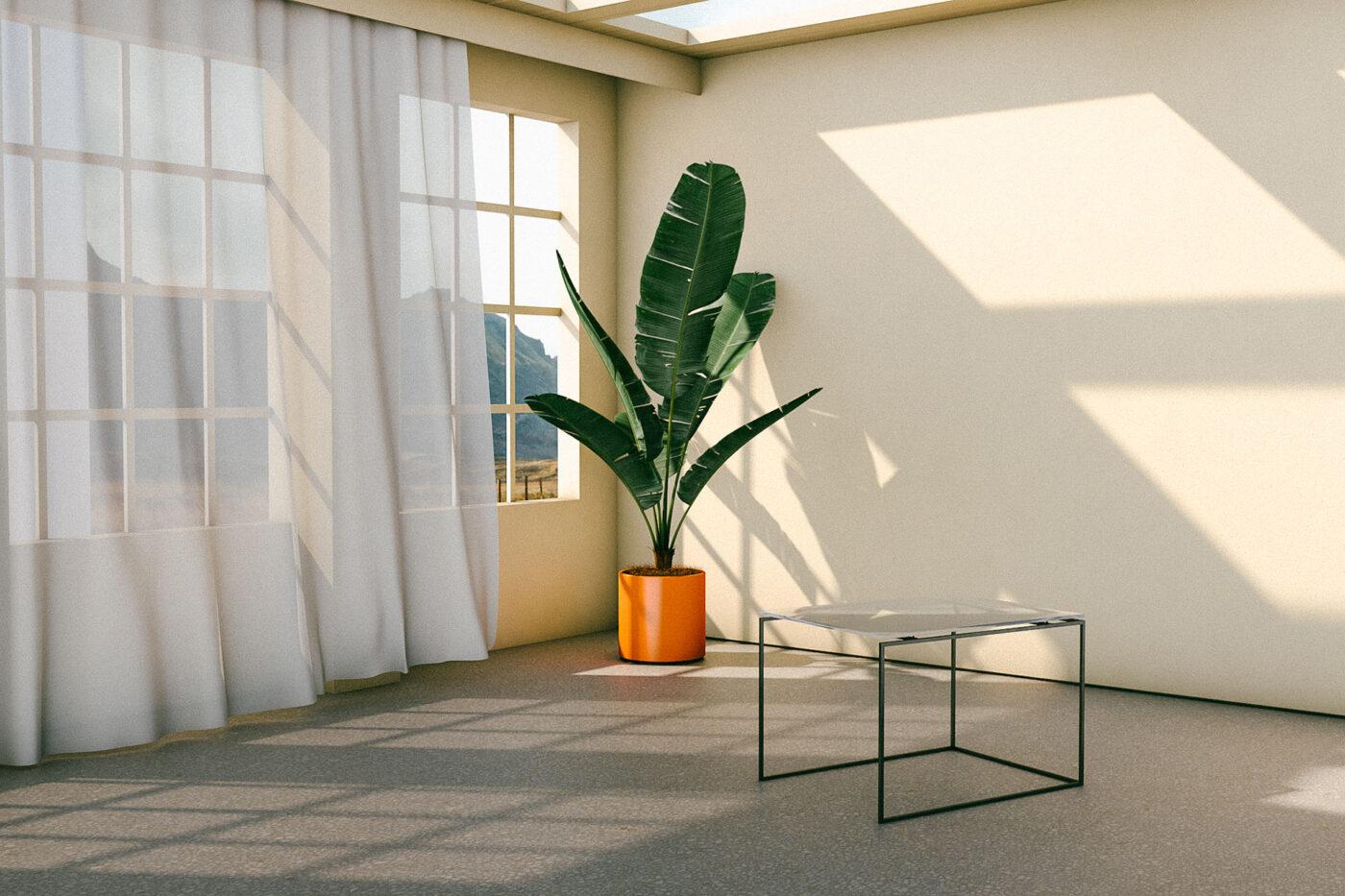 Innenansicht eines Raumes mit Tisch von makuni
