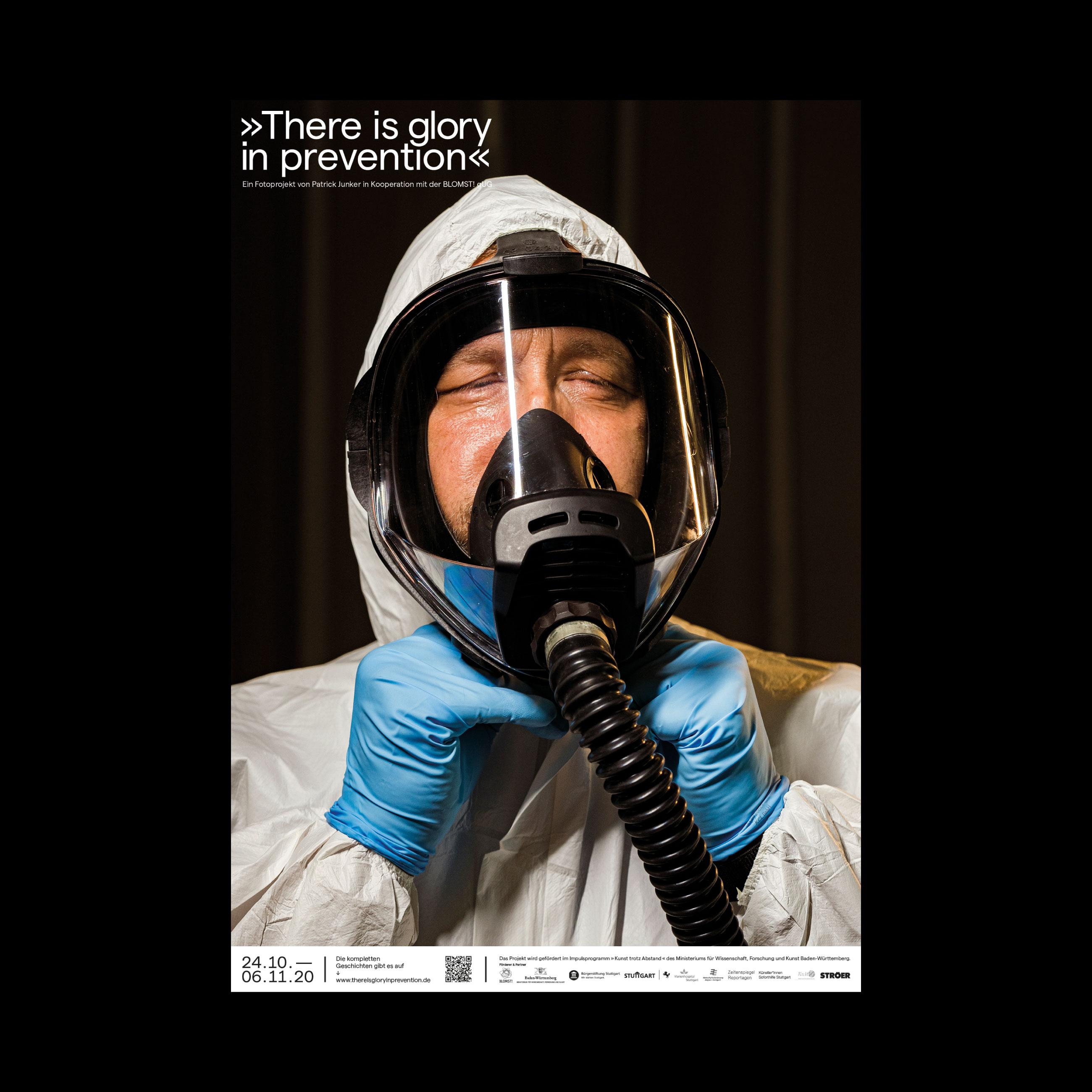Gesichtsmaske coronapandemie stuttgart Plakatausstellung von Patrick junker 2020