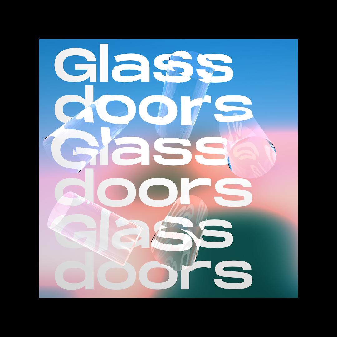 glasstaebe auf farbigem verlauf mit Schrift