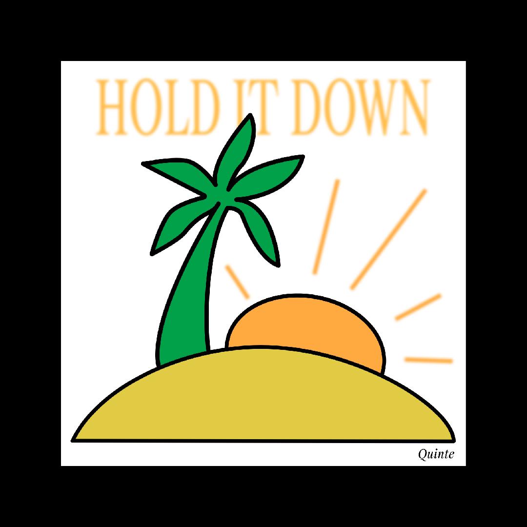 Palme auf Insel mit sonne als illustration