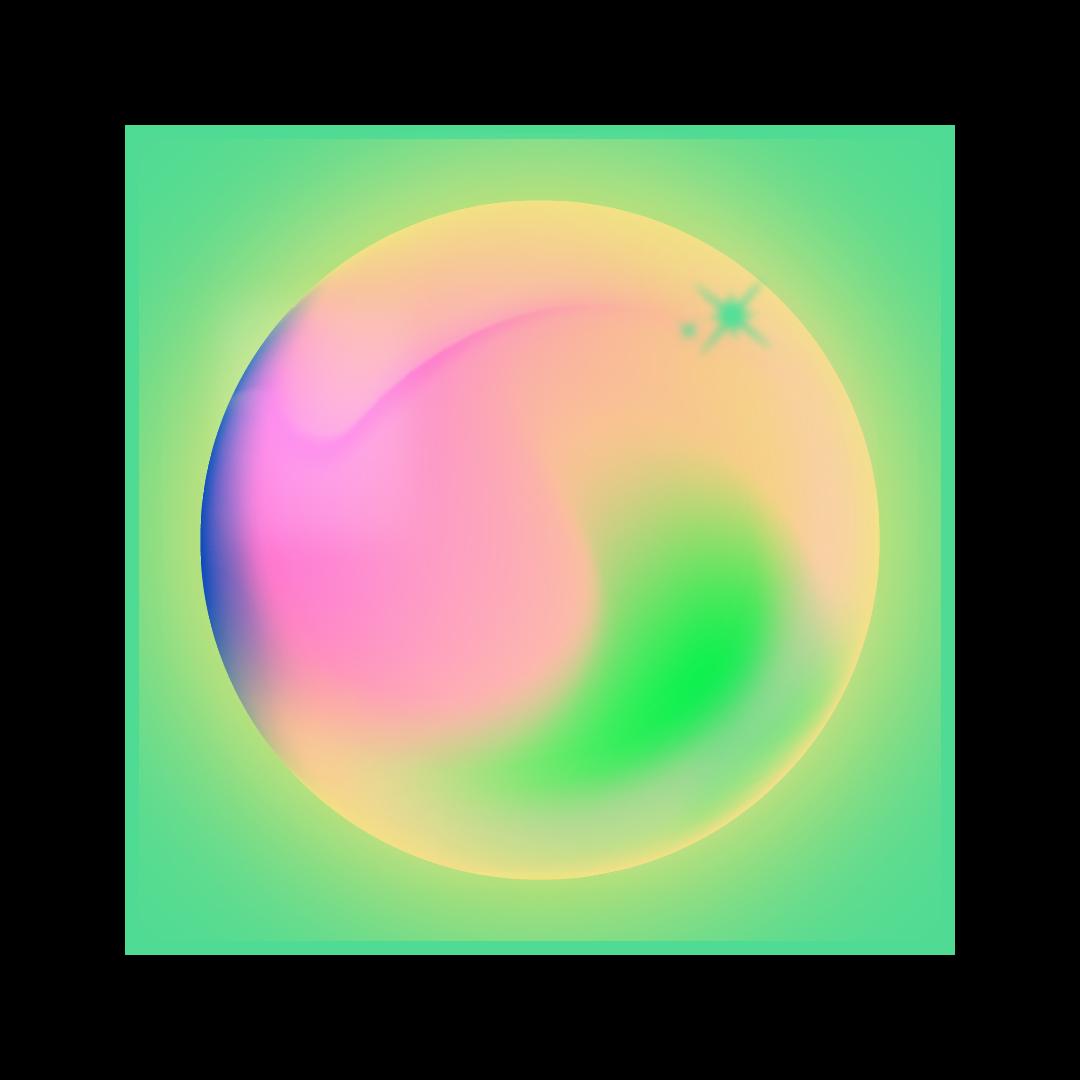airbrush kugel auf neon gruenem hintergrund